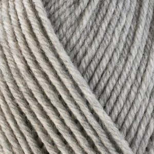 Frost 33108, a very light heathered grey skein of washable worsted weight Ultra Wool yarn.