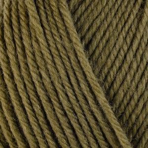 Lentil 3330, an earthy green skein of washable worsted weight Ultra Wool yarn.