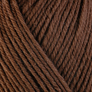 Mocha 3323, a warm brown skein of washable worsted weight Ultra Wool yarn.