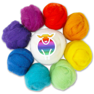 Chromatic Carded Corriedale Color Combos - Rainbow-Fiber-