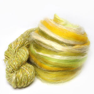 Paradise Fibers Superfine Merino/Soybean/Silk/Angelina Micro Blend - Golden Lime-Fiber-Paradise Fibers