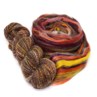 Paradise Fibers Natural De-Haired Yak Top/ Dyed Merino Top Micro Blend - Yaktober