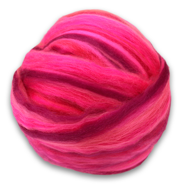 Paradise Fibers Multi Color Merino Wool Top - Barbie Pink