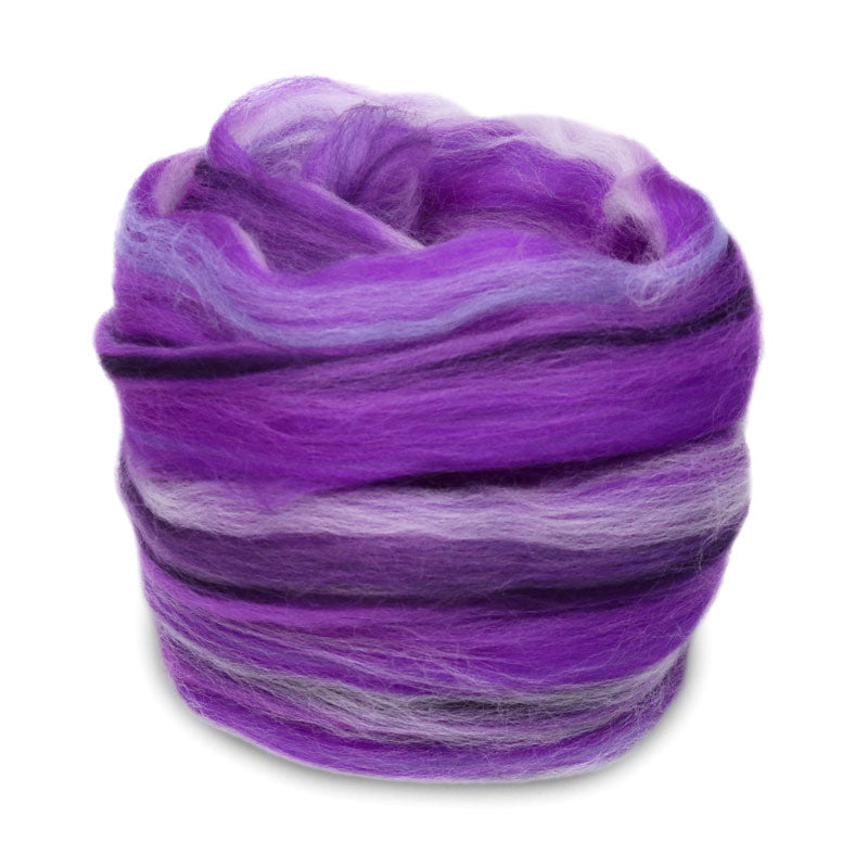 Paradise Fibers Multi Color Merino Wool Top - Ultra Violet-Fiber-Paradise Fibers