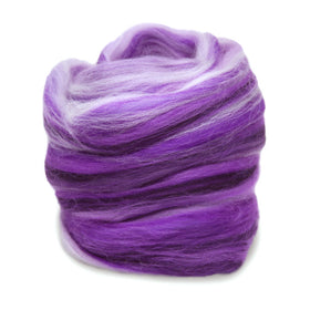 Paradise Fibers Multi Colored Merino Wool Top - Ultra Violet