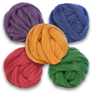 A collection of shetland wool heather rovings. One purple, blue, yellow, red, and green.