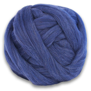 Color Echinops. A ball of Blue Shetland Wool Heather Combed Top Roving.