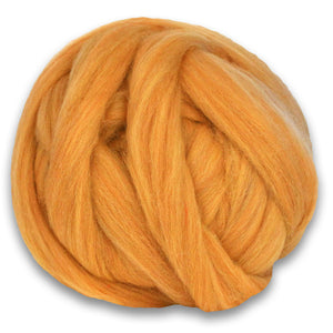 Color Fairy Flax. A ball of Yellow Shetland Wool Heather Combed Top Roving.
