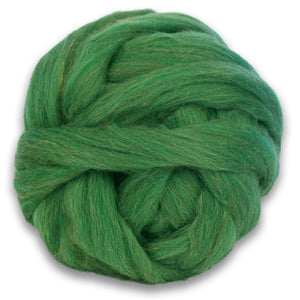 Color Roseroot. A ball of Green Shetland Wool Heather Combed Top Roving.