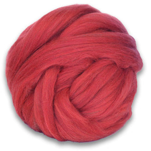 Color Sorrell. A ball of Red Shetland Wool Heather Combed Top Roving.