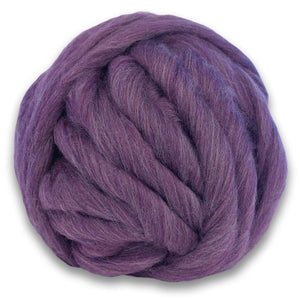 Color Thistle. A ball of Purple Shetland Wool Heather Combed Top Roving.