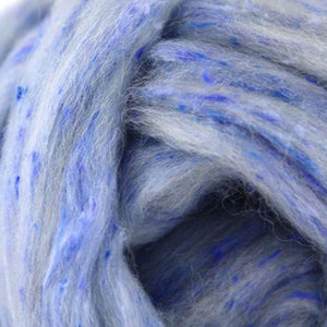 Wool and Viscose Tweed Top- Ice - 1 oz-Fiber-Paradise Fibers