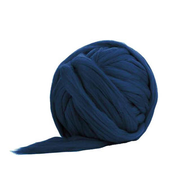 Solid Colored Corriedale Jumbo Yarn - Indigo - 6.6lb (3kg) Special for Arm Knitted Blankets
