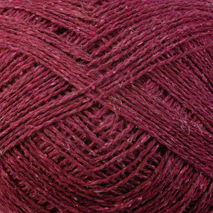 Color Strawberry 6960. A Dark Red Shade of Berroco Remix Light DK Yarn.