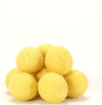 De Witte Engel Pure Wool Felt Balls 10pc - Sunflower
