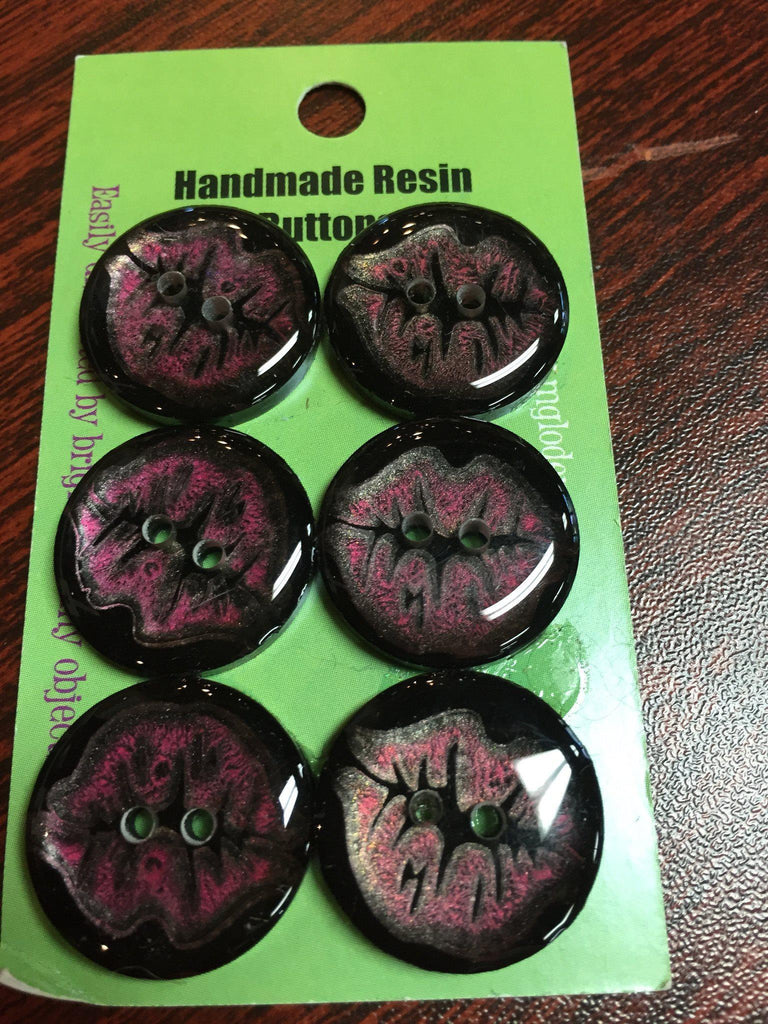Handmade Resin Buttons - Set of 6 - Purple Lips - 5