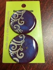 "Handmade Resin Buttons - 1 1/2"" diameter Purple Scroll - 4"