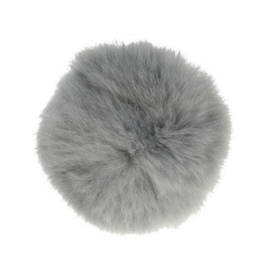 "Rabbit Fur Pom Poms 3"" - Light Grey-Accessories-Paradise Fibers"