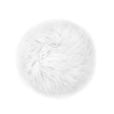"Rabbit Fur Pom Poms 3"" - White-Accessories-Paradise Fibers"