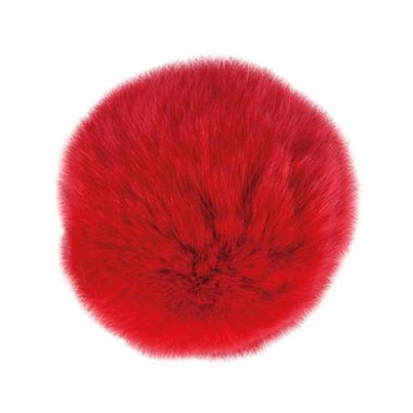 "Rabbit Fur Pom Poms 3"" - Red-Accessories-Paradise Fibers"