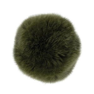 "Rabbit Fur Pom Poms 3"" - Khaki-Accessories-Paradise Fibers"