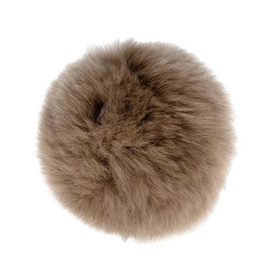 "Rabbit Fur Pom Poms 3"" - Taupe-Accessories-Paradise Fibers"