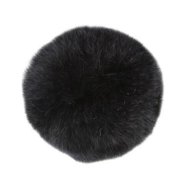 "Rabbit Fur Pom Poms 3"" - Black-Accessories-Paradise Fibers"