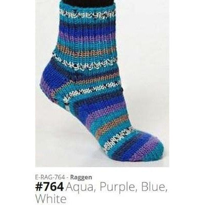 Viking of Norway Raggen Yarn Aqua Purple Blue White 764 - 12