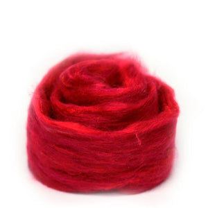 Red Recycled Sari Silk Roving.