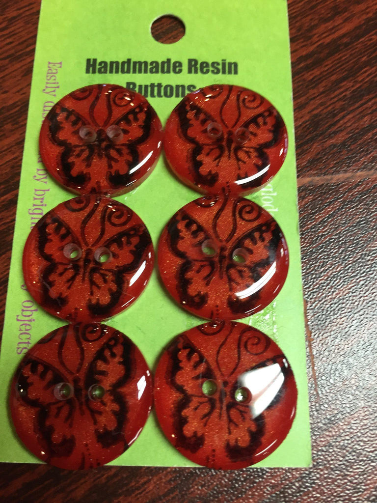 Handmade Resin Buttons - Set of 6 - Yellow/Orange/Red Butterfly - 6