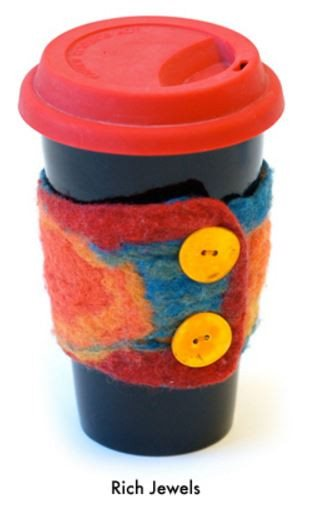 Artfelt Coffee Cozy/ Cuff Felting Kit Rich Jewels - 4