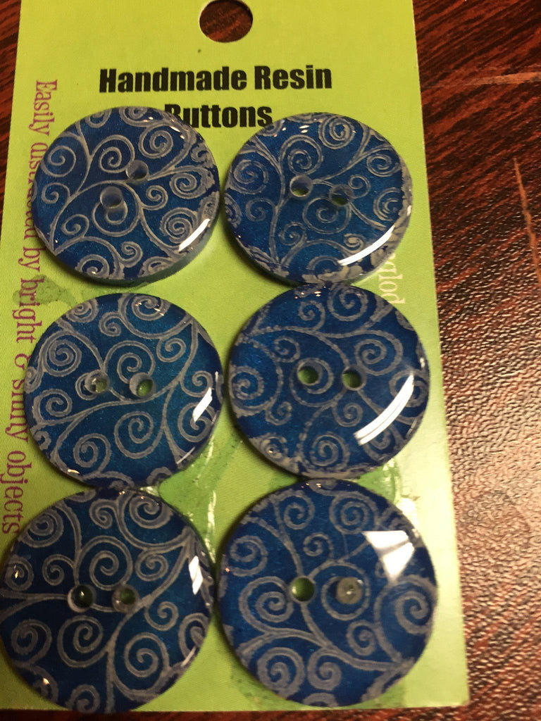 "Handmade Resin Buttons - 5/8"" Set of 6 - Blues Silver Brocade on Blue - 6"