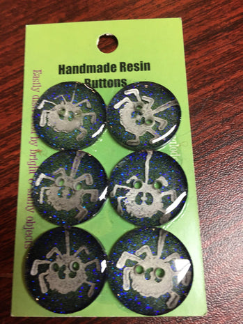 Handmade Resin Buttons - Set of 6 - Greens Spider - 2