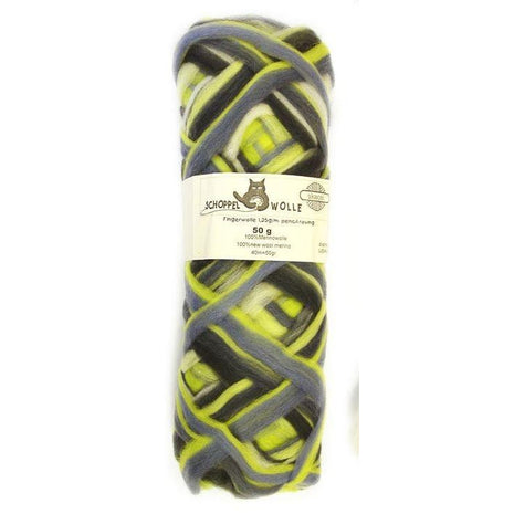 Artfelt Multi Colored Merino Pencil Rovings Stormy Lime 1700 - 18