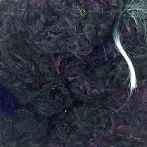 A bundle of black recycled sari silk threads.