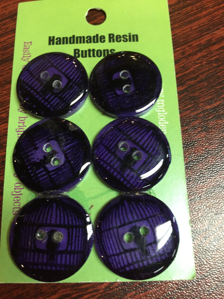 Handmade Resin Buttons - Set of 6 - Purple Birdcage - 2