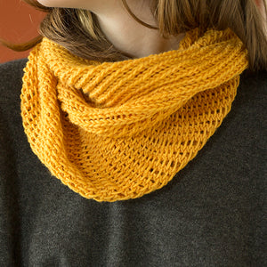 The Bella Cowl kit knit in Harvest Worsted hand-dyed with Buckthorn.