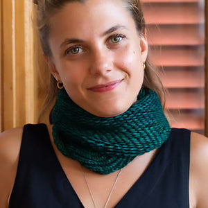 The Bella Cowl kit knit in Monokrom Worsted in the color 4065 Deep Pine.