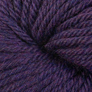 Berroco Vintage Chunky weight yarn in the color Aubergine 6190, a dark heathered purple.