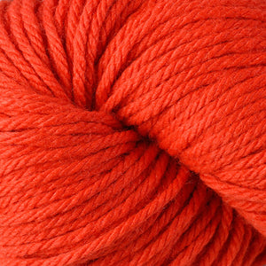 Berroco Vintage Chunky weight yarn in the color Orange 6140, a very vibrant orange.