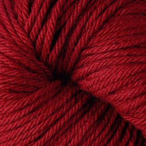 Berroco Vintage Chunky weight yarn in the color Sour Cherry 6134, a bright deep candy red.