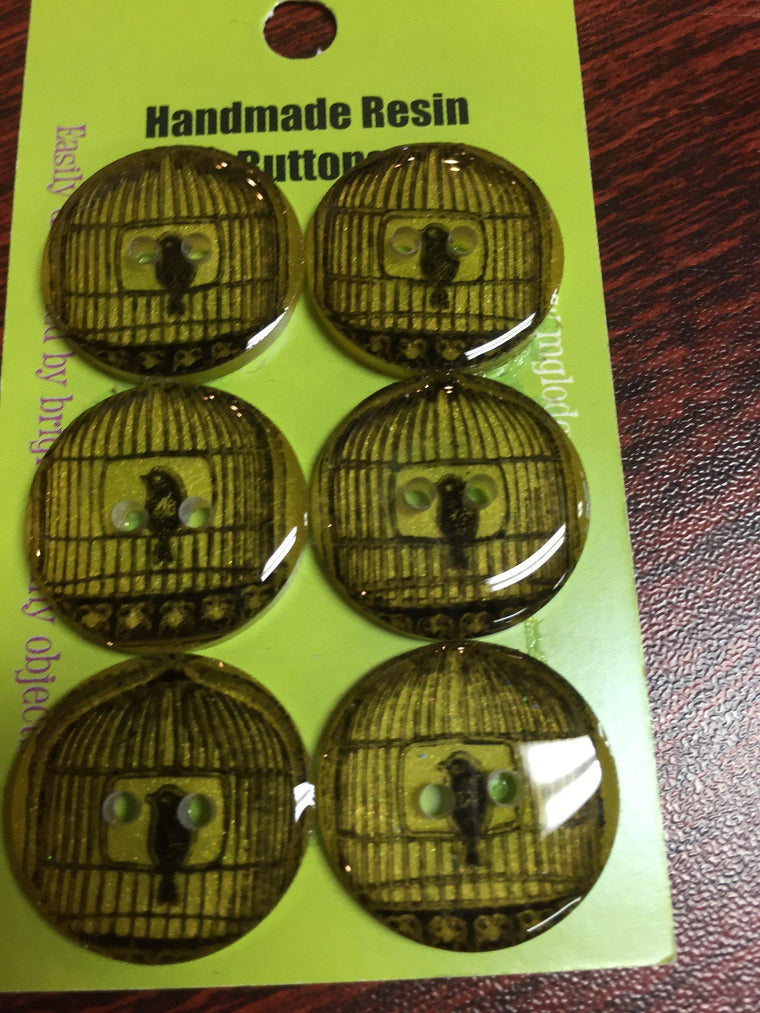 Handmade Resin Buttons - Set of 6 - Yellow/Orange/Red Yellow Birdcage - 1