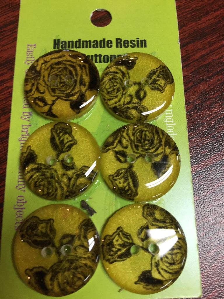 Handmade Resin Buttons - Set of 6 - Yellow/Orange/Red Rose - 2