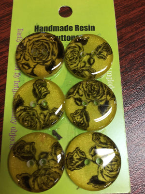 Handmade Resin Buttons - Set of 6 - Yellow/Orange/Red-Button-Rose-