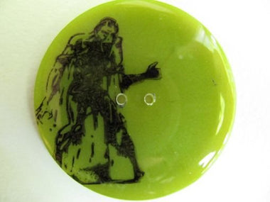 "Handmade Resin Button - 2 1/8"" Green Zombie - 1"