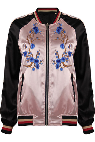ReversIble Silk Embroidered Bomber Jacket IN  PINK - The Style Co. London - 1