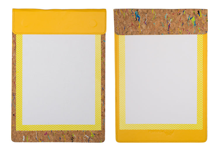 MAGNETIC WRITING PAD - YELLOW & CORK A/4