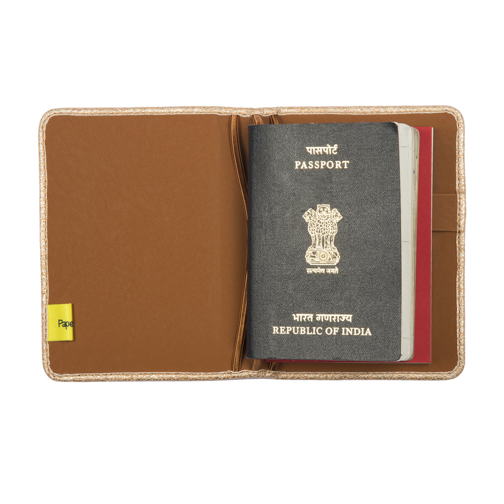 Passport and Book Holder Light Gold and Tan