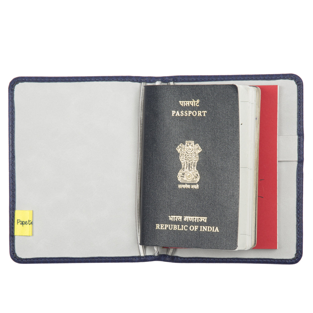 Passport and Book Holder Dark Blue and Light Grey