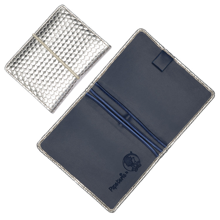 Passport and Book Holder Silver and Blue